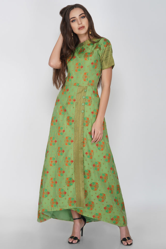 Short Sleeve Brocade Occasion Green Maxi from Nesavaali London