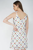 Embroidered White Shift Slip Dress  From Nesavaali London