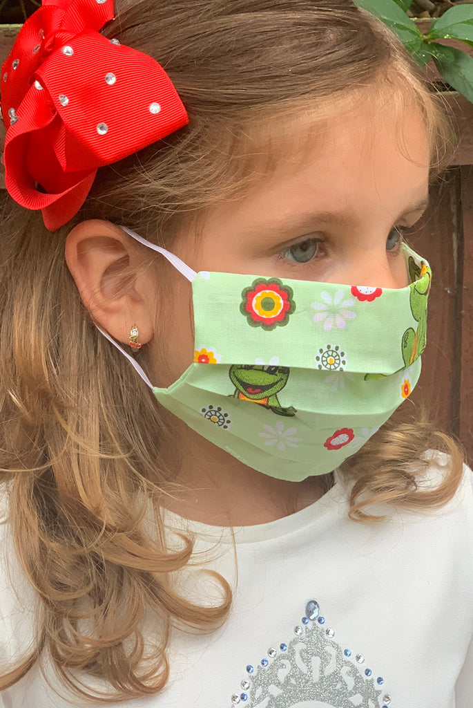 Jumping Frogs Washable Cotton Face Masks For Kids - From Nesavaali London