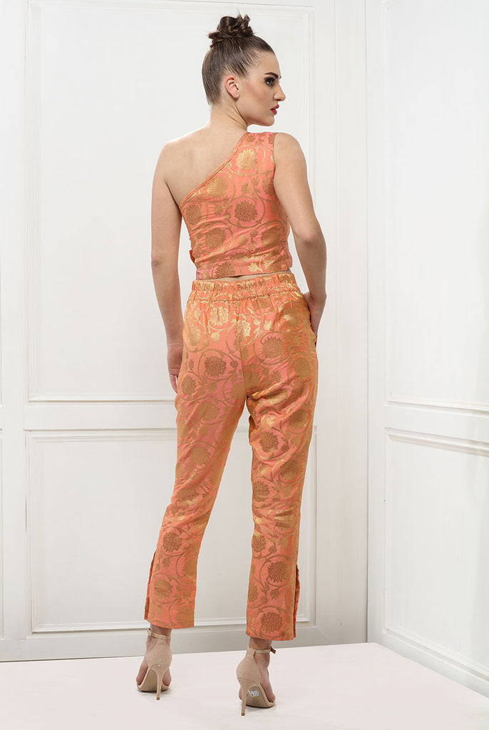 Coral Women Brocade Fitted Trouser From Nesavaali London