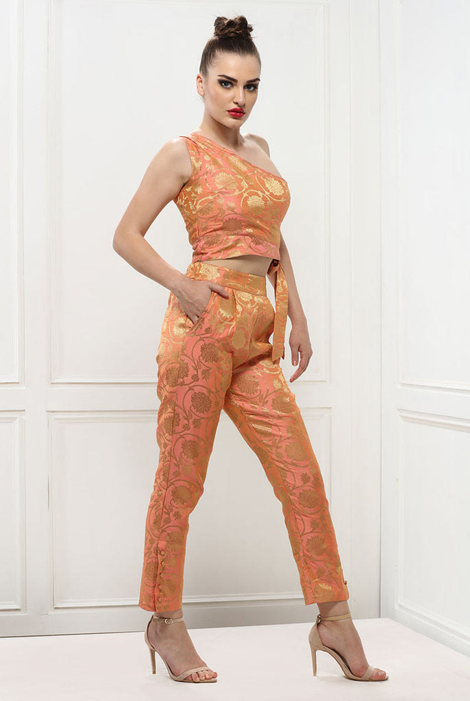 Coral Women Brocade One Shoulder Crop Tie up Top From Nesavaali London