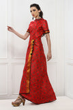 Short Sleeve Maxi Dress in Red Brocade Print From Nesavaali London