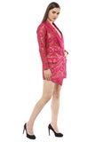 Long Sleeves Asymmetrical Neon Pink Blazer Dress From Nesavaali London