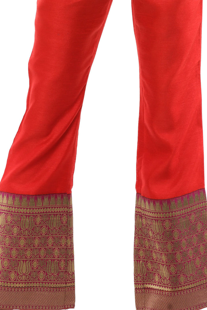 Fusion High Waisted Trousers in Red Lotus Brocade From Nesavaali London