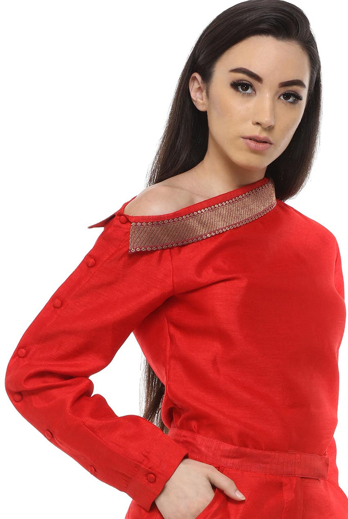 Ladies Long Sleeve Formal Red Brocade Shirt From Nesavaali London