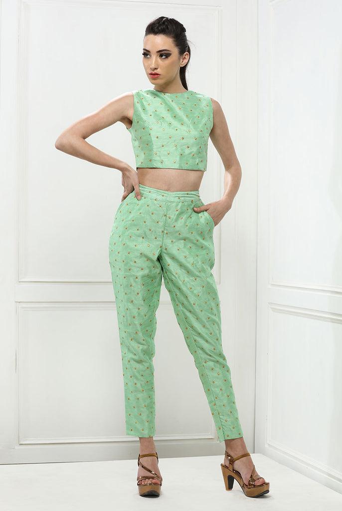 Ladies Comfy Cropped Smart Trouser From Nesavaali London