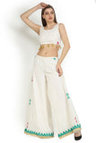 Crop Women's White Top with Tassels From Nesavaali London