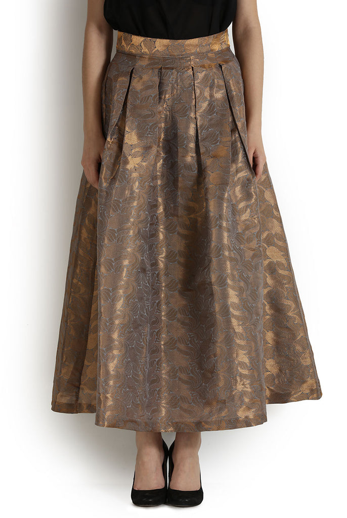 Long Maxi Flared Pleated Metallic Shimmer Skirt From Nesavaali London
