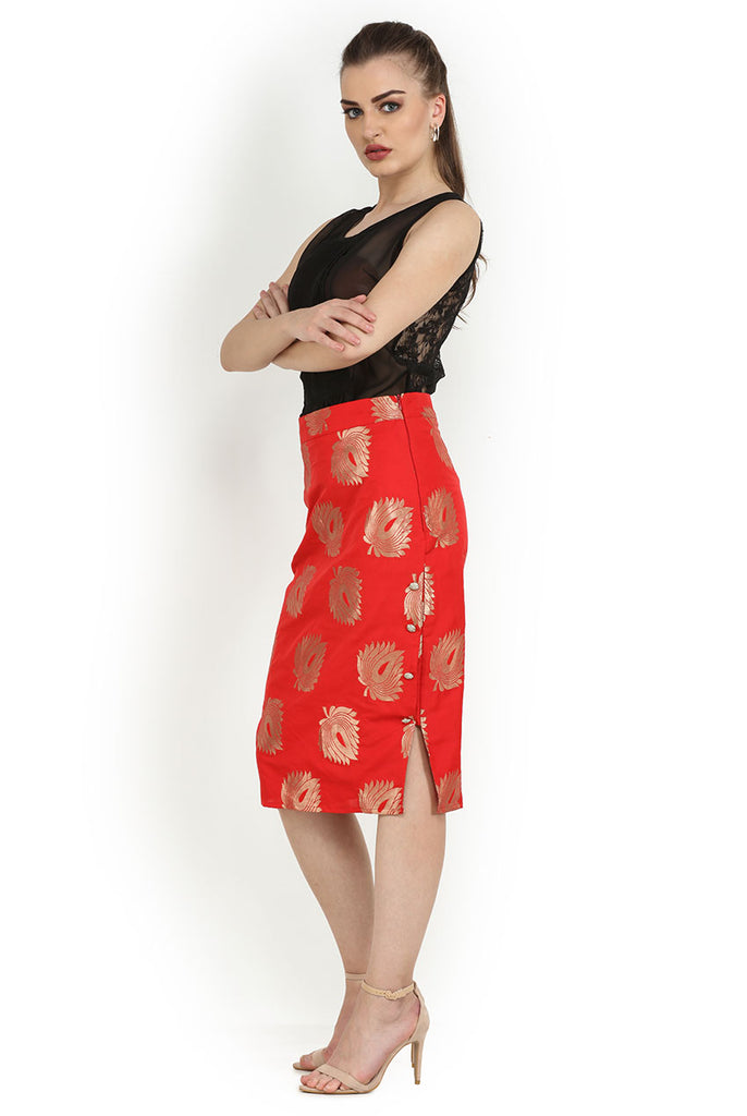 Red Occasion Sheath Pencil Fit Skirt From Nesavaali London