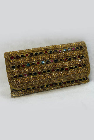 Embellished Stone Work Prom & Wedding Clutch From Nesavaali London