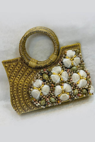 Embellished Sea Shell Handle Bag From Nesavaali London