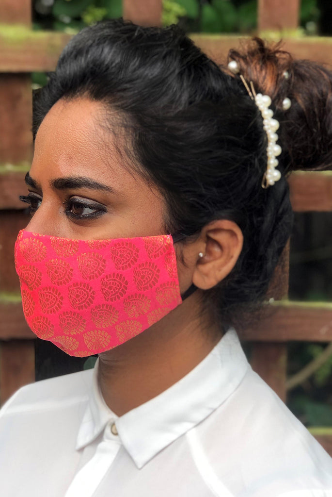 Coral Pink Reusable & Washable Stylish Brocade Face Masks From Nesavaali London