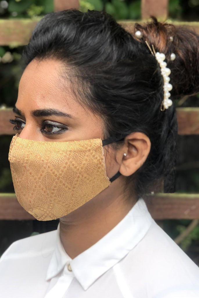 Gold Reusable & Washable Stylish Brocade Face Masks From Nesavaali London