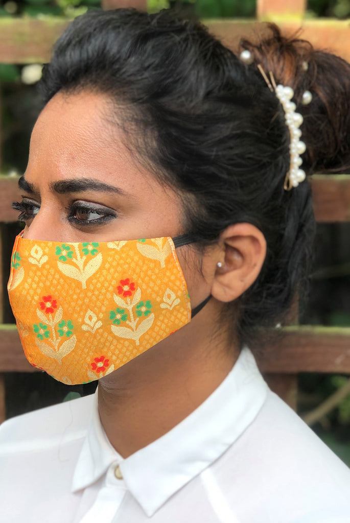 Mango Yellow Reusable & Washable Stylish Brocade Face Masks From Nesavaali London