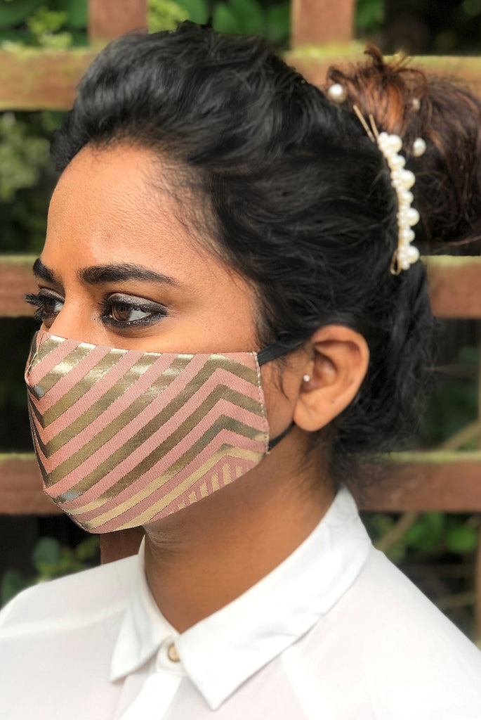 Reusable & Washable Stylish Brocade Face Masks From Nesavaali London