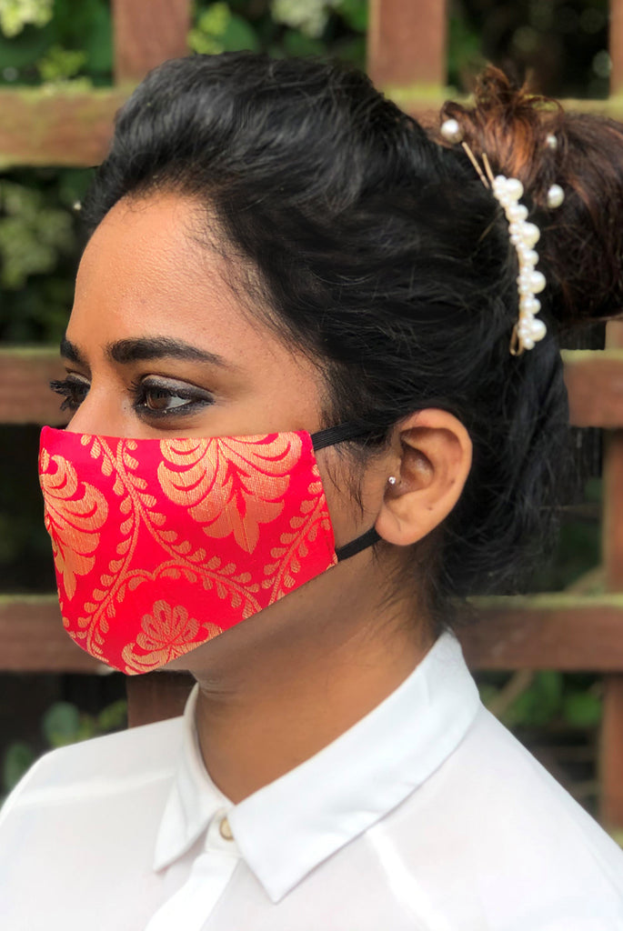Red Reusable & Washable Stylish Brocade Face Masks From Nesavaali London
