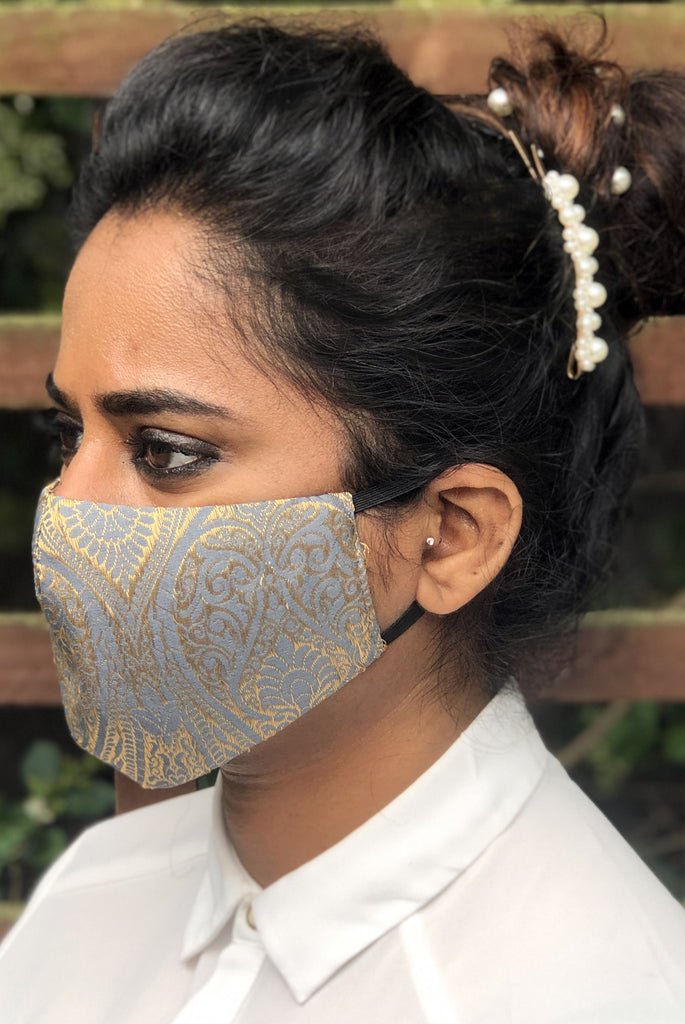 Silver Reusable & Washable Stylish Brocade Face Masks From Nesavaali London