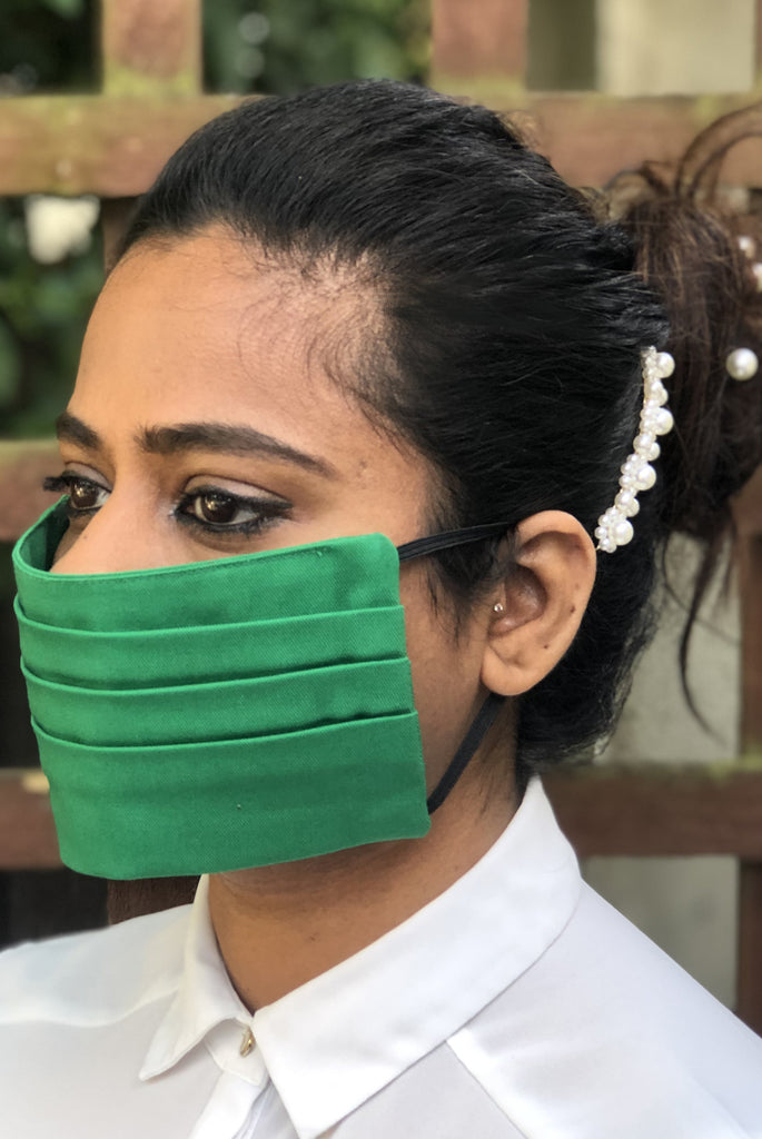 Green Pleated Durable Washable Reusable Face Masks - From Nesavaali London