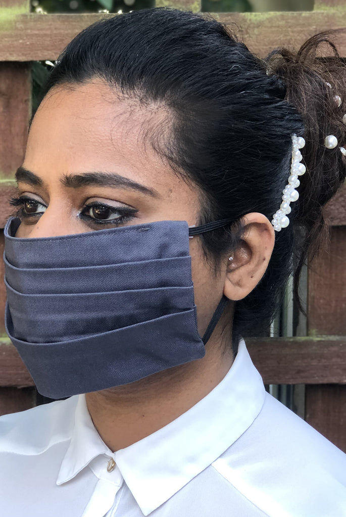 Grey Pleated Durable Washable Reusable Face Masks - From Nesavaali London