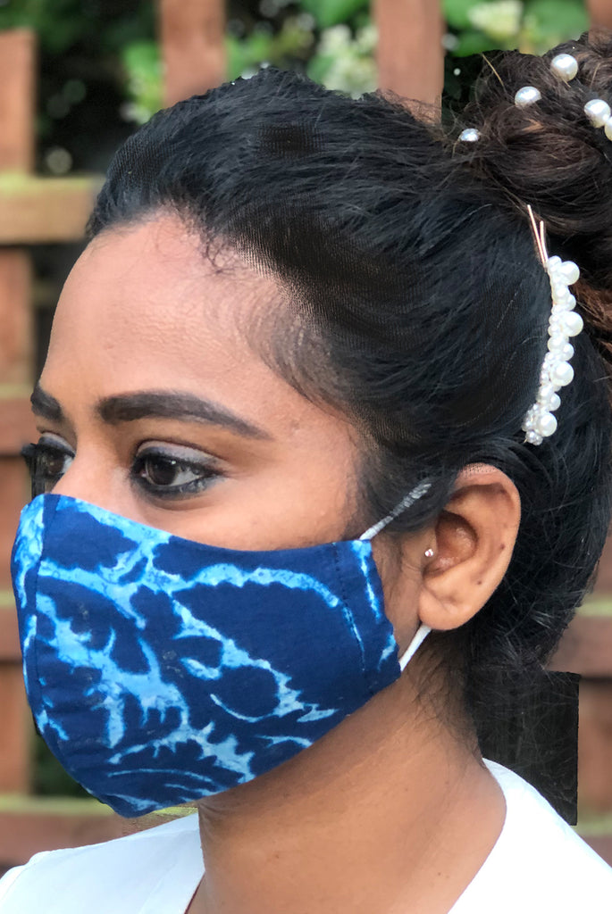 Tie & Dye Washable Three Layer Protection Filter Pocket Handmade Masks - From Nesavaali London