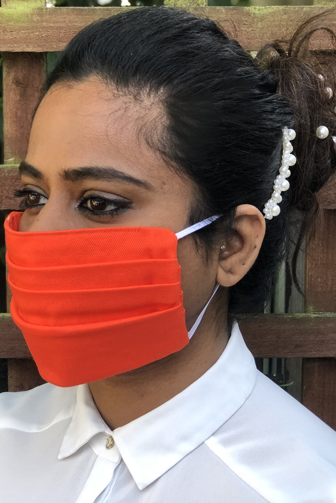 Orange Pleated Durable Washable Reusable Face Masks - From Nesavaali London