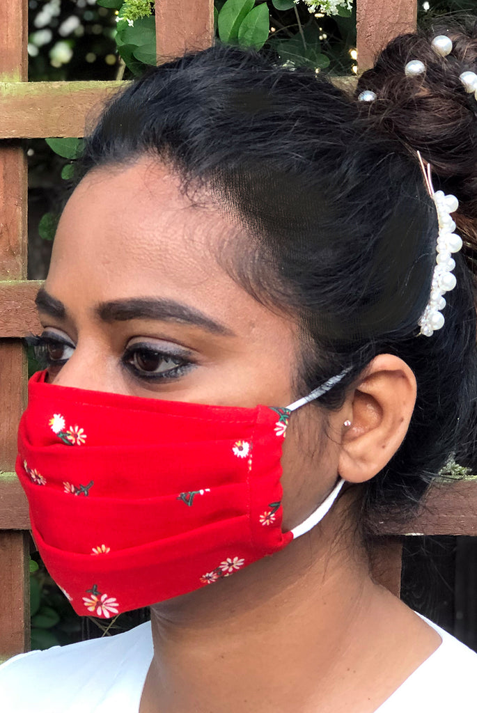 Red Floral Pleated Mask With Filter Pocket Opening - From Nesavaali London