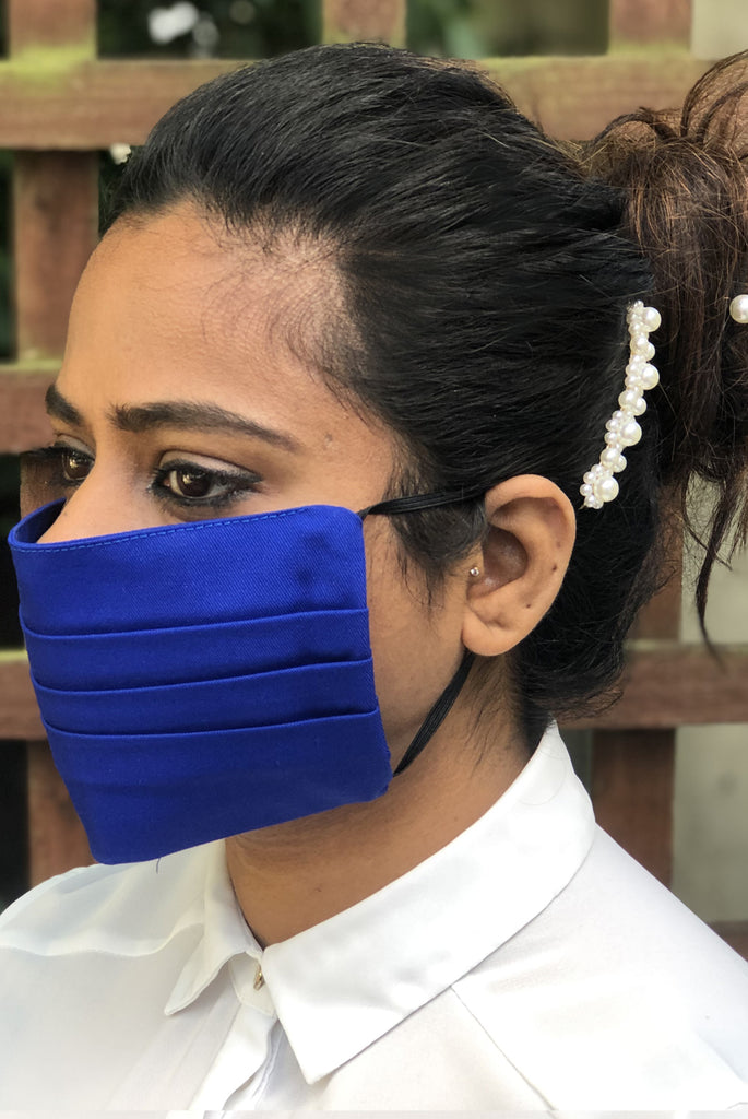 Royal Blue Pleated Durable Washable Reusable Face Masks - From Nesavaali London
