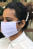 White Pleated Durable Washable Reusable Face Masks - From Nesavaali London