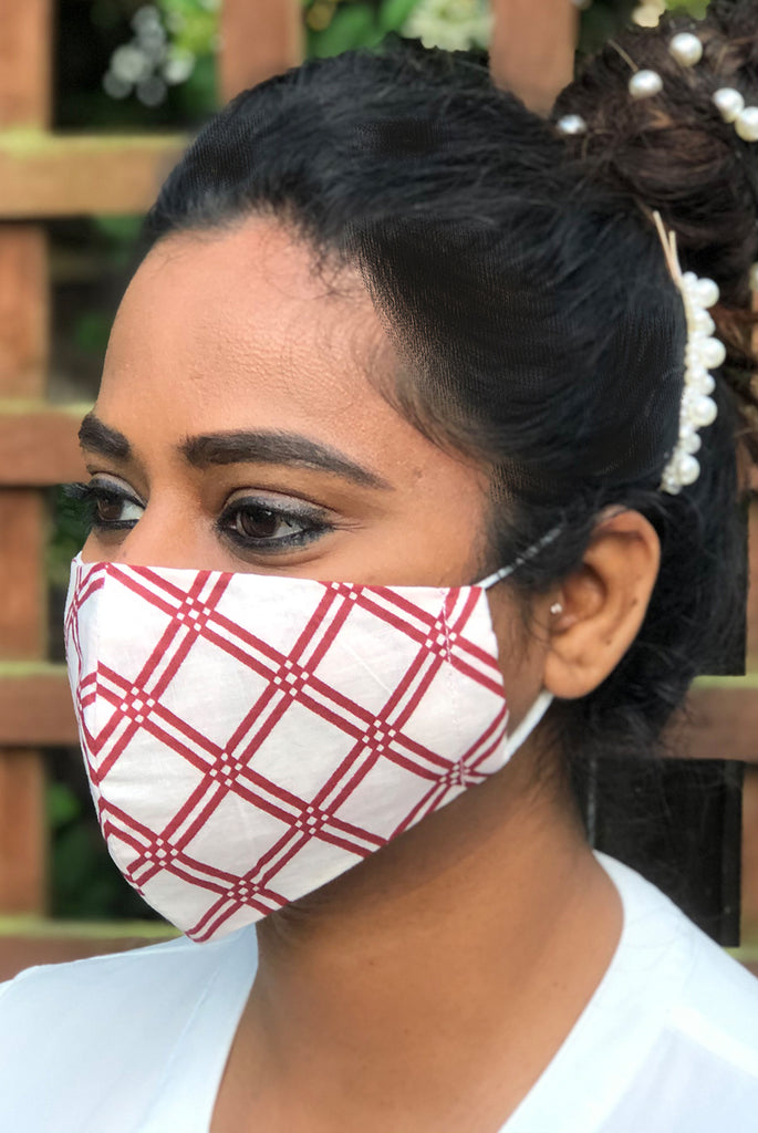 Geo Print Washable Three Layer Protection Filter Pocket Handmade Masks - From Nesavaali London