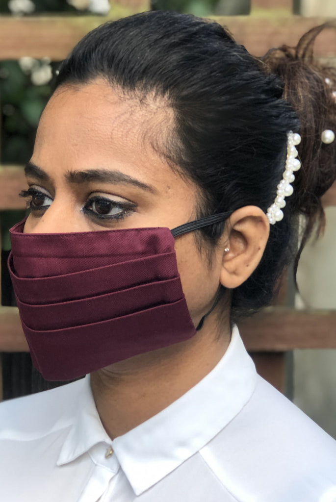 Wine Pleated Durable Washable Reusable Face Masks - From Nesavaali London