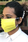 Yellow Pleated Durable Washable Reusable Face Masks - From Nesavaali London