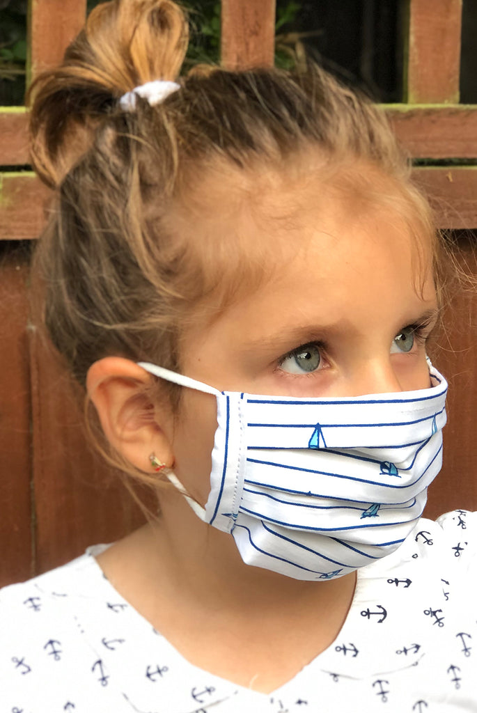 Blue Boats Washable Cotton Face Masks With Filter Pocket Opening For Kids - From Nesavaali London