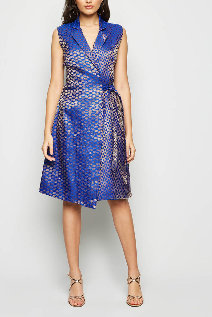 Wrap Tailored Midi Brocade Dress From Nesavaali London