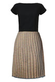 Boat Neck Cap Sleeve Pleated Midi Brocade Dress Silver From Nesavaali London