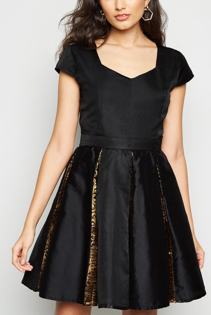 Skater Brocade Insert Flare Midi Dress From Nesavaali London