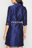 Navy Brocade Midi Shirt Dress From Nesavaali London