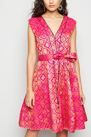 Front Open Flare Skater Brocade Pretty Dress From Nesavaali London