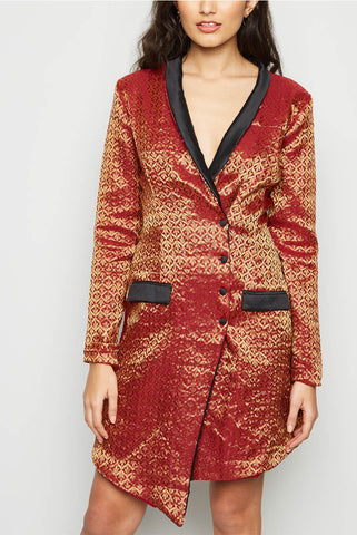 Tuxedo Glam Brocade Tailored Blazer Dress From Nesavaali London