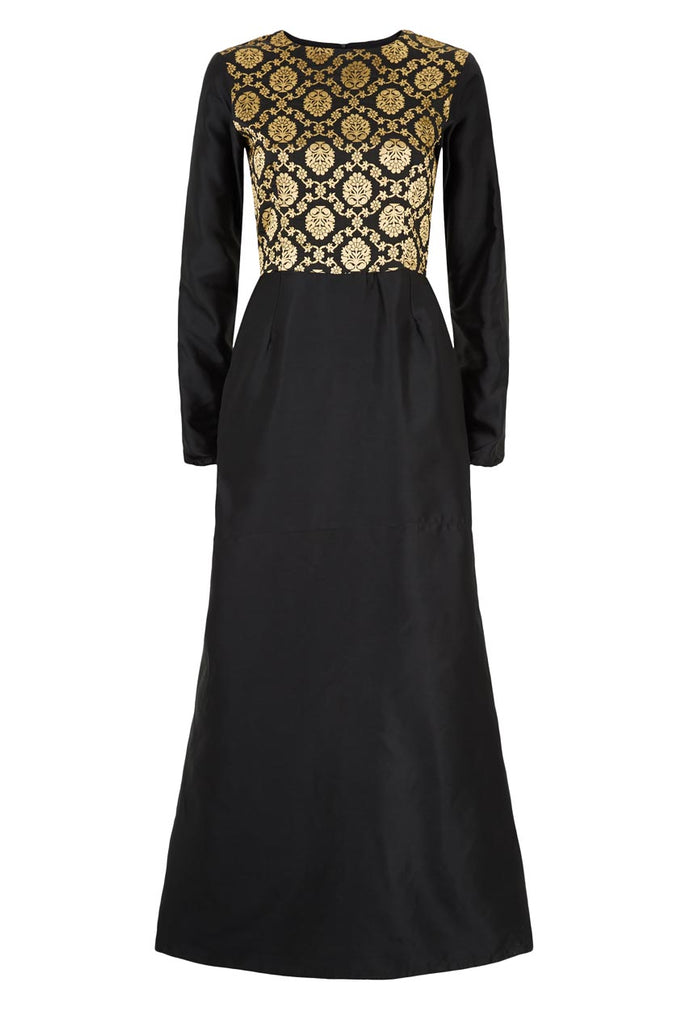 Full Sleeves Mermaid Sheath Maxi Brocade Dress From Nesavaali London