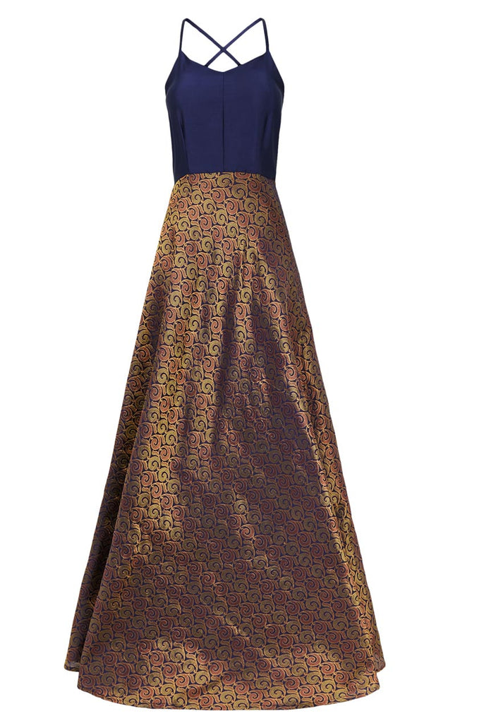 Evening Multi Colour Brocade Shiny Strappy Maxi Dress From Nesavaali London