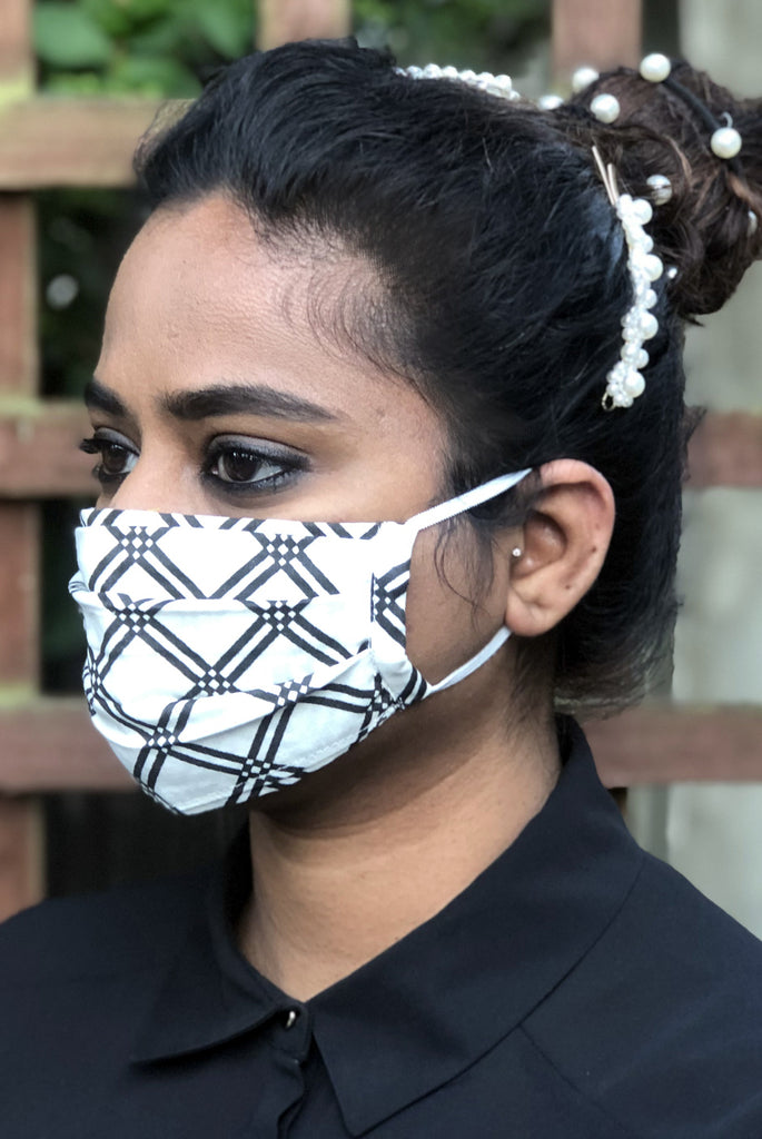 Black Geo Filter Pocket Opening Washable Soft Cotton Face Mask - From Nesavaali London