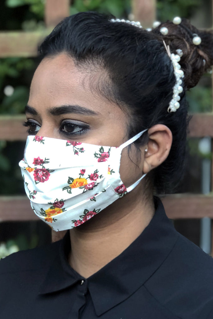 Multi Floral Filter Pocket Opening Washable Soft Cotton Face Mask - From Nesavaali London