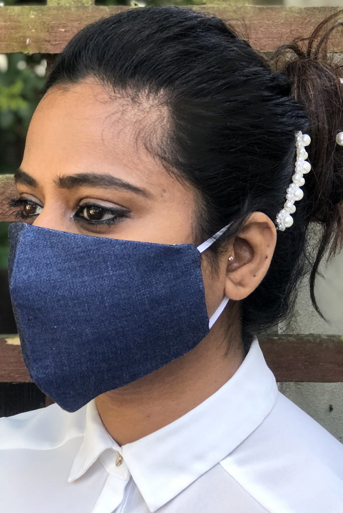 Soft Denim Washable Three Layer Protection Filter Pocket Handmade Masks - From Nesavaali London