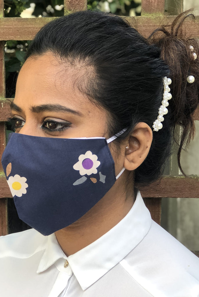 Navy Floral Washable Three Layer Protection Filter Pocket Handmade Masks - From Nesavaali London