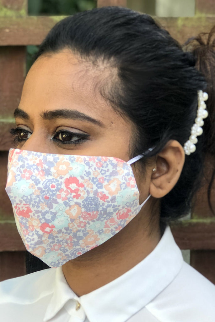 Pastel Floral Washable Three Layer Protection Filter Pocket Handmade Masks - From Nesavaali London