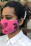 Pink Floral Washable Three Layer Protection Filter Pocket Handmade Masks - From Nesavaali London