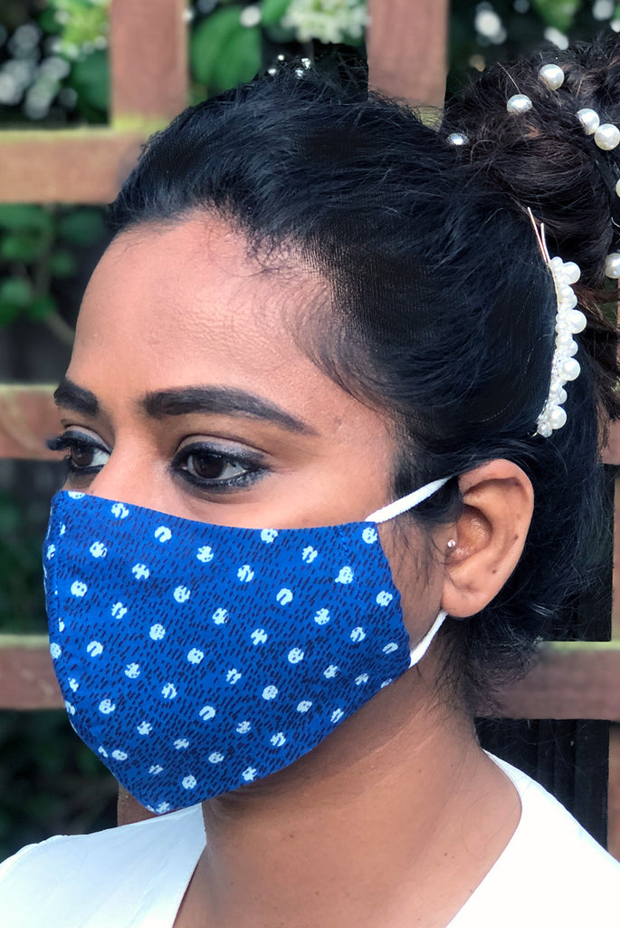 Polka Dot Washable Three Layer Protection Filter Pocket Handmade Masks - From Nesavaali London