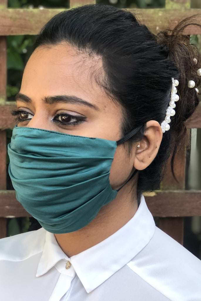 Green Soft Washable Jersey Face Masks - From Nesavaali London