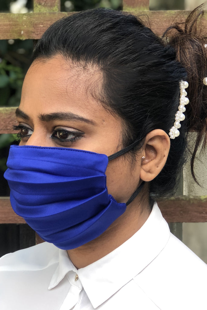 Royal Blue Soft Washable Jersey Face Masks - From Nesavaali London