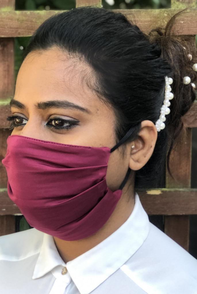 Wine Soft Washable Jersey Face Masks - From Nesavaali London